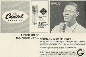 בידקו עם החברה עוד שיתופי פעולה. נט קינג קול בפרסומת למיקרופונים של ניומן